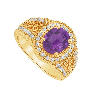 LoveBrightJewelry Cool Gift Amethyst and CZ Filigree Ring 2.00 CT TGW