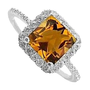LoveBrightJewelry Cool Jewelry Citrine and CZ Ring in 925 Sterling Silver