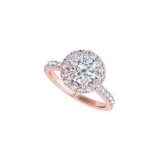 LoveBrightJewelry Cool Rose Gold Vermeil Halo Engagement Ring With Cz