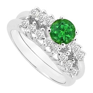 LoveBrightJewelry Created Emerald and Cubic Zirconia Engagement Ring with Wedding Band Set 925 Sterling Silver 0.75 Carat