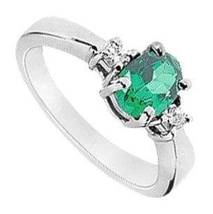 LoveBrightJewelry Created Emerald and Cubic Zirconia Ring 925 Sterling Silver 1.10 CT TGW