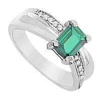 LoveBrightJewelry Created Emerald and Cubic Zirconia Ring 925 Sterling Silver 1.75 CT Total Gem Weight