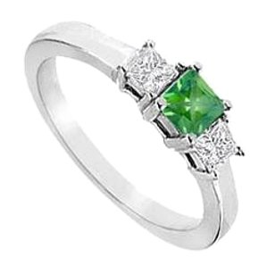 LoveBrightJewelry Created Emerald and Cubic Zirconia Ring in Sterling Silver 2.00.ct.tw