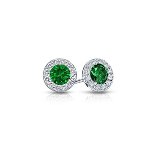 LoveBrightJewelry Created Emerald and CZ Halo Stud Earrings in Sterling Silver 1.00.ct.