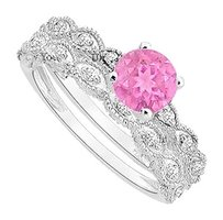 LoveBrightJewelry Created Pink Sapphire and Cubic Zirconia Engagement Ring with Wedding Band Set 925 Sterling Silver 0.50 Carat