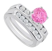 LoveBrightJewelry Created Pink Sapphire & Cubic Zirconia Engagement Ring with Wedding Band Sets 925 Sterling Silver 1 Carat