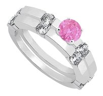 LoveBrightJewelry Created Pink Sapphire & CZ Engagement Rings with Wedding Band Set in Sterling Silver 1.30 CT TGW