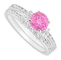 LoveBrightJewelry Created Pink Sapphire Engagement Ring with CZ Wedding Band Sets in 925 Sterling Silver 1.00 Carat