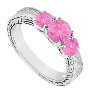 LoveBrightJewelry Created Pink Sapphire Three Stone Ring 925 Sterling Silver 0.50 CT TGW