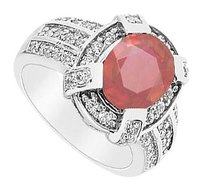 LoveBrightJewelry Created Ruby and Cubic Zirconia Ring 14K White Gold 3.75 CT TGW