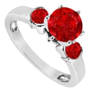 LoveBrightJewelry Created Ruby Three-Stone Ring in Sterling Silver 1.50 ct. t.w.
