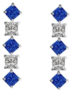 LoveBrightJewelry Created Sapphire and Cubic Zirconia Earrings 925 Sterling Silver 0.75 CT TGW
