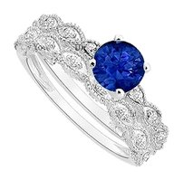 LoveBrightJewelry Created Sapphire and Cubic Zirconia Engagement Ring with Wedding Band Set 925 Sterling Silver 0.50 Carat