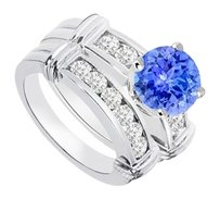 LoveBrightJewelry Created Sapphire & Cubic Zirconia Engagement Ring with Wedding Band Sets 925 Sterling Silver