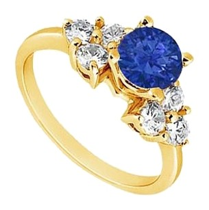 LoveBrightJewelry Created Sapphire and Cubic Zirconia Engagement Ring Yellow Gold Vermeil 0.75 CT TGW