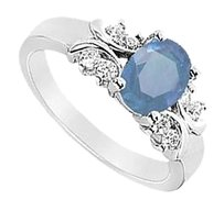 LoveBrightJewelry Created Sapphire and Cubic Zirconia Ring 925 Sterling Silver 1.75 CT TGW