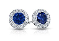 LoveBrightJewelry Created Sapphire And Cz Halo Stud Earrings In Sterling Silver 1.50.ct.tw