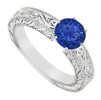 LoveBrightJewelry Created Sapphire Ring 925 Sterling Silver 0.50 CT TGW