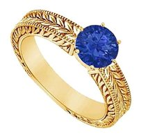 LoveBrightJewelry Created Sapphire Ring Yellow Gold Vermeil 0.50 CT TGW
