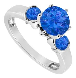 LoveBrightJewelry Created Sapphire Three-Stone Ring in Sterling Silver 1.50 ct. t.w.