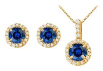 LoveBrightJewelry Created Sapphire with CZ Halo Earrings and Pendant