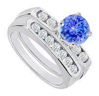 LoveBrightJewelry Created Tanzanite & Cubic Zirconia Engagement Ring with Wedding Band Sets 925 Sterling Silver 1 Carat