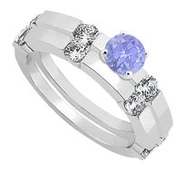 LoveBrightJewelry Created Tanzanite & CZ Engagement Rings with Wedding Band Set in Sterling Silver 1.30 CT TGW