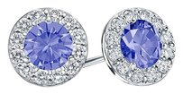 LoveBrightJewelry Created Tanzanite and CZ Halo Stud Earrings in Sterling Silver 1.50.ct.tw