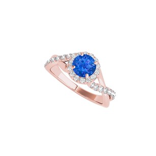 LoveBrightJewelry Criss Cross Halo Engagement Ring With Sapphire And Cz