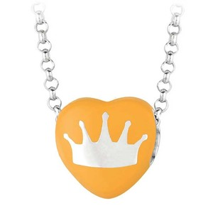 LoveBrightJewelry Crown Orange Heart Pendant Necklace With 16 Inch Rolo Rhodium Chain