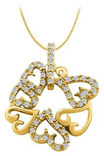 LoveBrightJewelry Cubic Zirconia 7 Hearts Fashion Pendant in Yellow Gold Vermeil over Sterling Silver 0.25 CT TGW