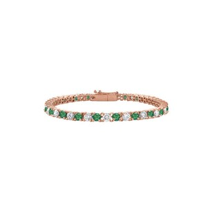LoveBrightJewelry Cubic Zirconia and Created Emerald Tennis Bracelet in 14K Rose Gold
