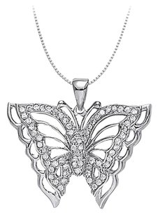 LoveBrightJewelry Cubic Zirconia Butterfly Pendant Necklace in Sterling Silver 0.50 CT TGW