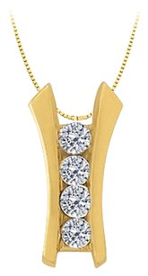 LoveBrightJewelry Cubic Zirconia Channel Set Line Pendant in Gold Vermeil over Sterling Silver 0.25 CT TGW