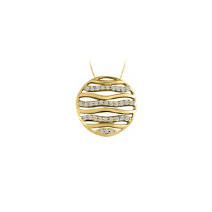 LoveBrightJewelry Cubic Zirconia Circle Fashion Pendant in 14K Yellow Gold 0.50 CT TGW