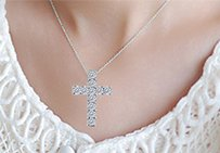 LoveBrightJewelry Cubic Zirconia Cross Of Religious Necklace In 925 Sterling Silver With 0.33 Carat Cz