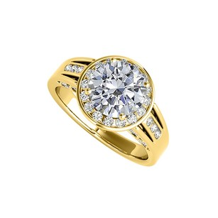 LoveBrightJewelry Cubic Zirconia Engagement Ring In Yellow Gold Vermeil