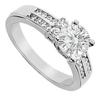 LoveBrightJewelry Cubic Zirconia Engagement Ring Sterling Silver 0.75 CT CZs