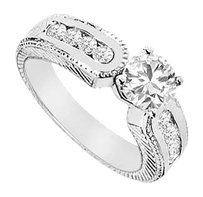 LoveBrightJewelry Cubic Zirconia Engagement Ring Sterling Silver 1.00 CT CZs