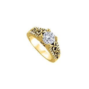 LoveBrightJewelry Cubic Zirconia Engagement Ring Yellow Gold Vermeil
