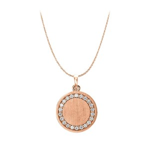 LoveBrightJewelry Cubic Zirconia Engravable Disc Pendant 14K Rose Gold