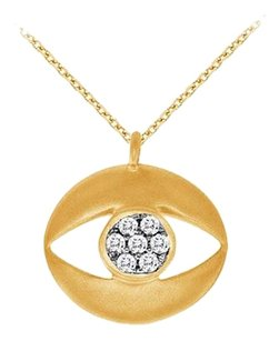 LoveBrightJewelry Cubic Zirconia Evil Eye Pendant Necklace in 18K Yellow Gold Vermeil