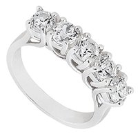LoveBrightJewelry Cubic Zirconia Five-Stone Ring in Sterling Silver 0.50.ct.tw