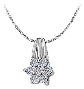 LoveBrightJewelry Cubic Zirconia Floral Pendant in Sterling Silver Amazing Jewelry Set with Free 16 Inch Chain