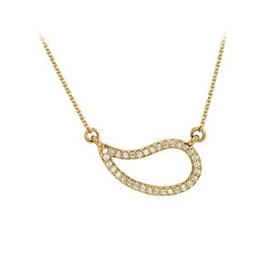 LoveBrightJewelry Cubic Zirconia Geometric Necklace in 14K Yellow Gold