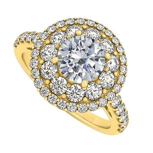 LoveBrightJewelry Cubic Zirconia Halo Engagement Ring Yellow Gold Vermeil