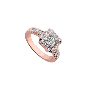 LoveBrightJewelry Cubic Zirconia Halo Engagement Rings In 14k Rose Gold Vermeil 2.5 Ct Tgw April Birthday Gift