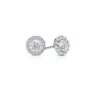 LoveBrightJewelry Cubic Zirconia Halo Stud Earrings In 14k White Gold 1.00.ct.tw