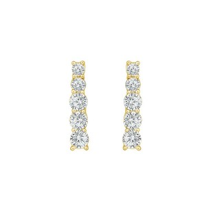 LoveBrightJewelry Cubic Zirconia Journey Earrings 18k Yellow Gold Vermeil 1.00 Ct Czs