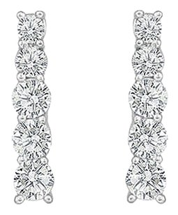 LoveBrightJewelry Cubic Zirconia Journey Earrings Sterling Silver 1.00 CT CZs